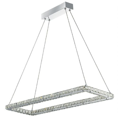 Clover Led Rectangle Frame Ceiling , Chrome, Clear Crystal Trim 7012Cc